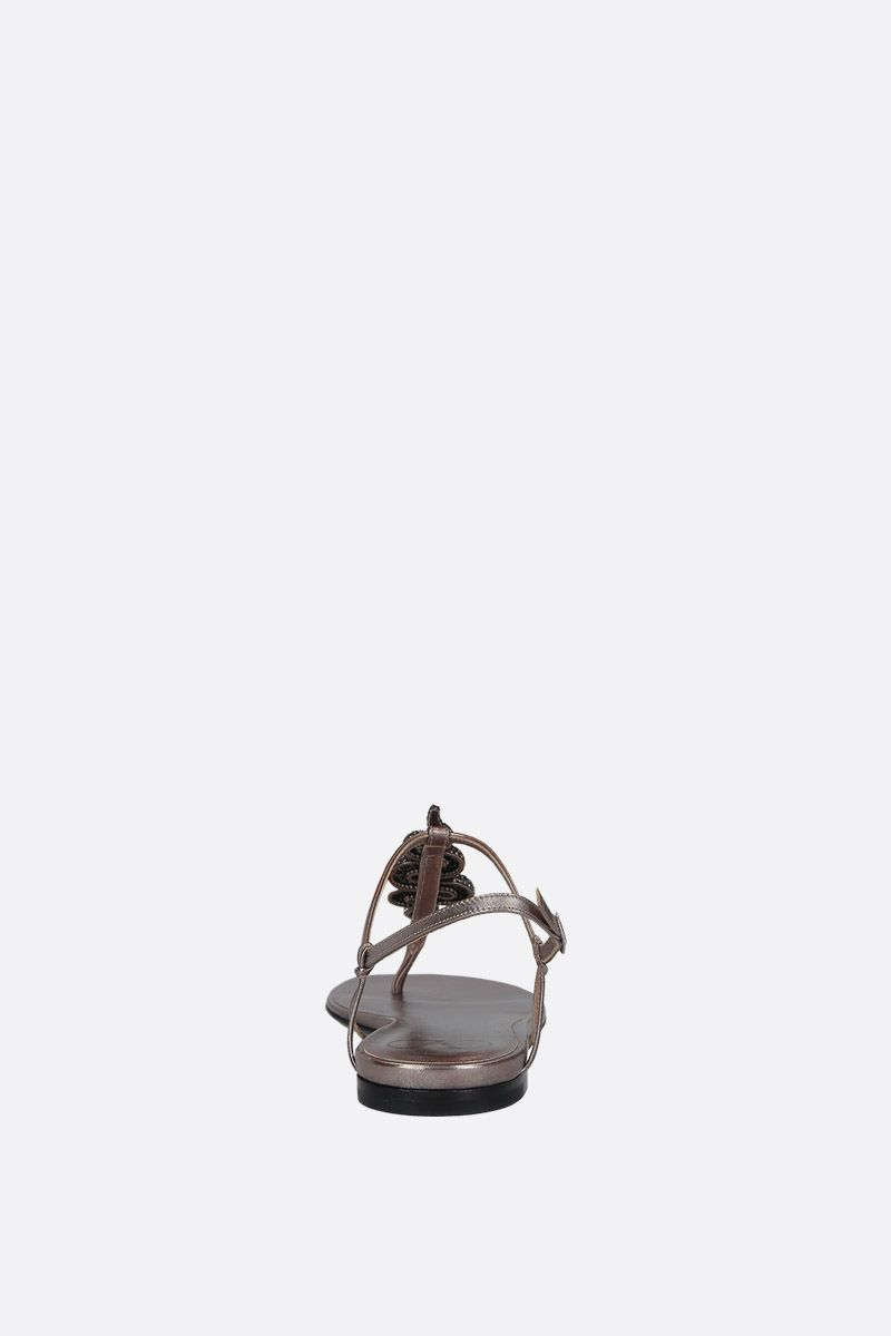 VALENTINO GARAVANI: jewel-detailed laminated leather thong sandals Color Silver_4