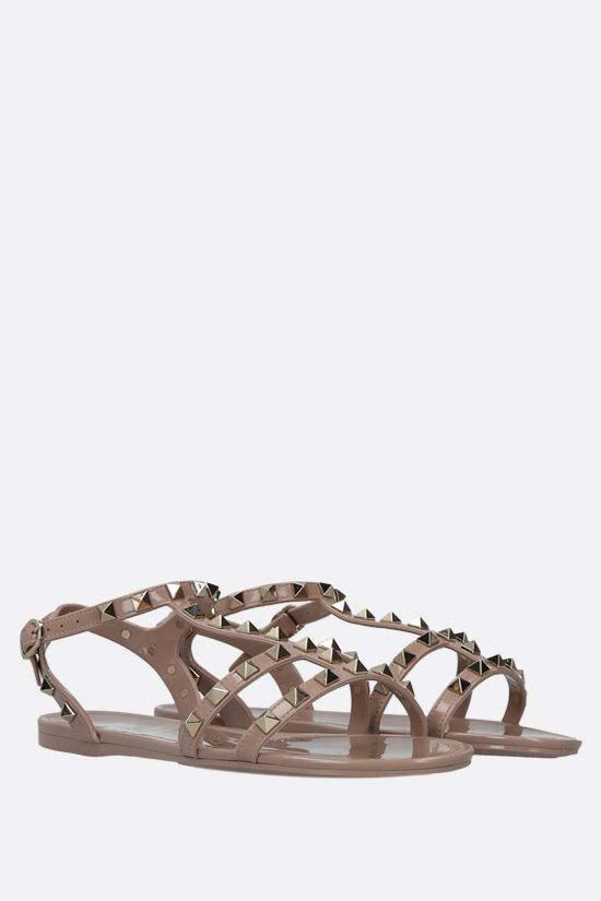 VALENTINO GARAVANI: Rockstud PVC flat sandals Color Neutral_2