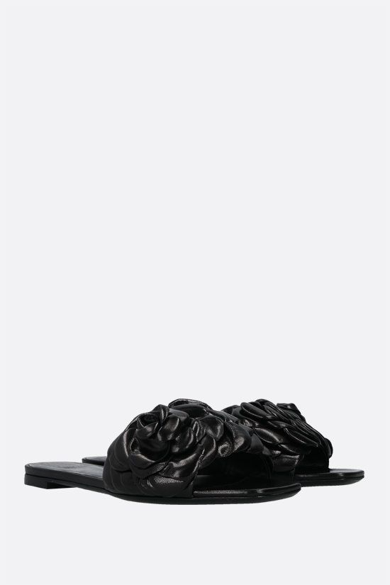 VALENTINO GARAVANI: Atelier Shoes 03 Rose Edition glossy leather slide sandals Color Black_2