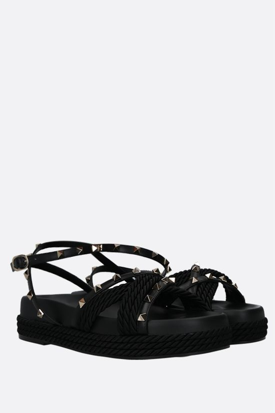 VALENTINO GARAVANI: Rockstud smooth leather and rope flatform sandals Color Black_2