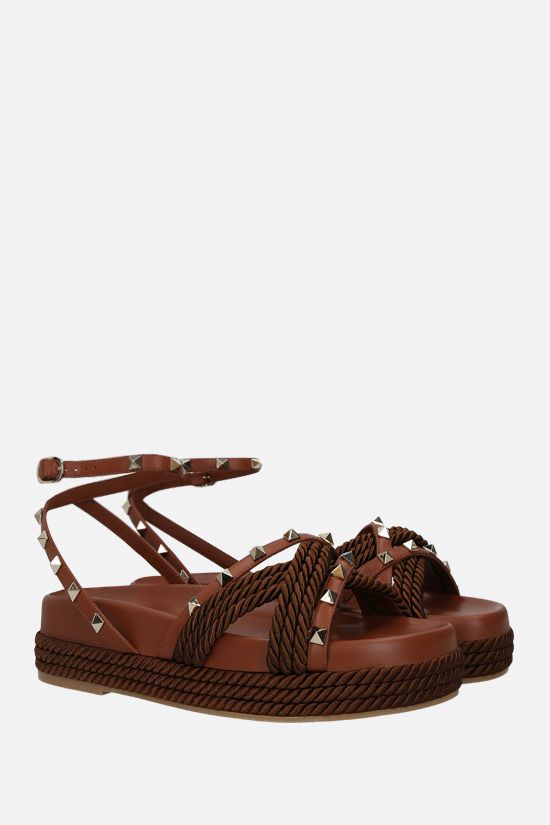 VALENTINO GARAVANI: Rockstud smooth leather and rope flatform sandals Color Brown_2