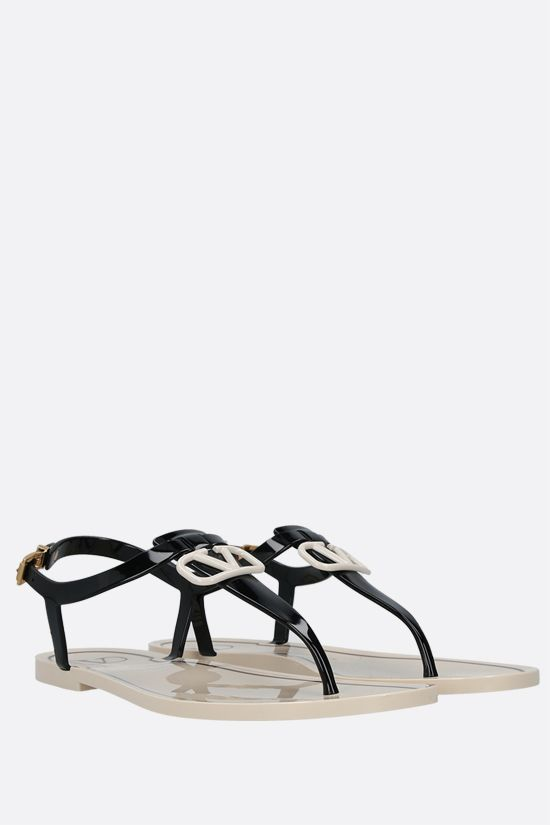 VALENTINO GARAVANI: VLOGO Signature PVC thong sandals Color Black_2