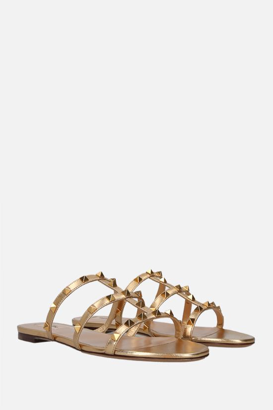 VALENTINO GARAVANI: Rockstud laminated nappa slide sandals Color Neutral_2