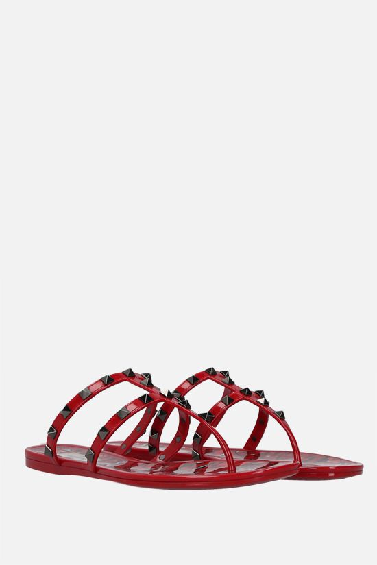 VALENTINO GARAVANI: Rockstud PVC thong sandals Color Red_2