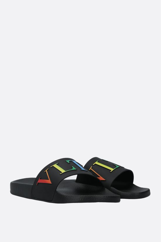 VALENTINO GARAVANI: VLTN rubber slide sandals Color Black_2