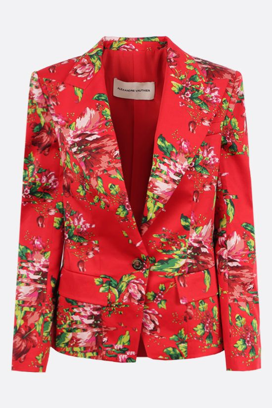ALEXANDRE VAUTHIER: single-breasted floral print stretch cotton jacket Color Red_1