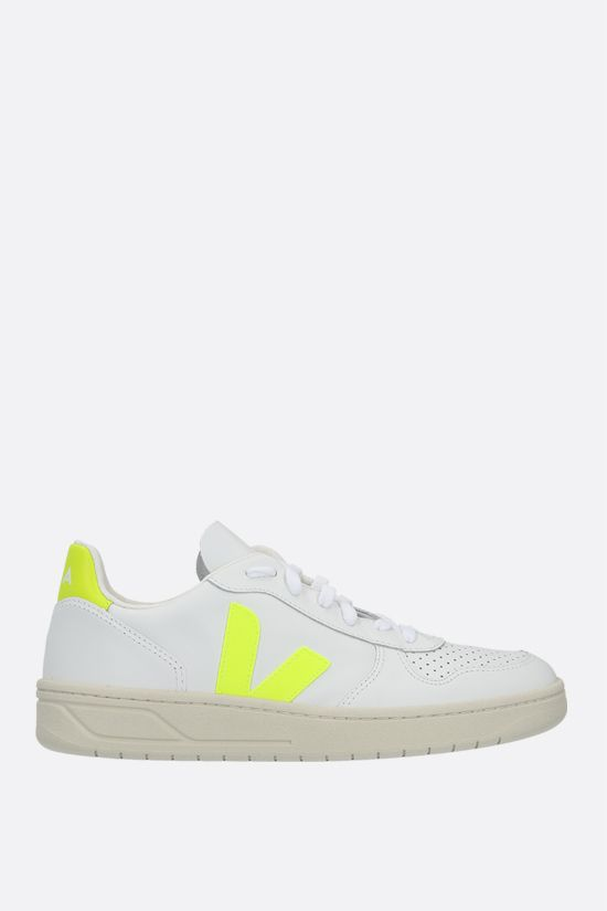 VEJA: V-10 smooth and perforated leather sneakers Color White_1