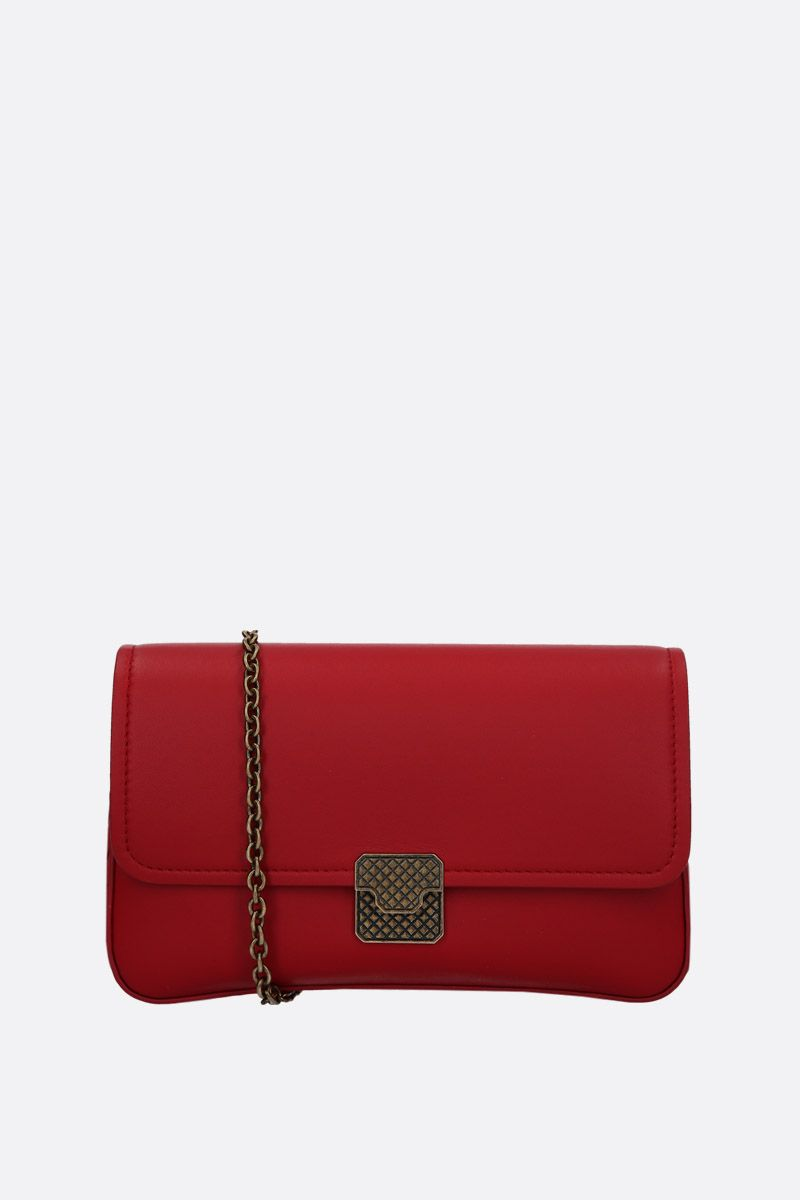 BOTTEGA VENETA: nappa leather wallet on chain Color Red_1