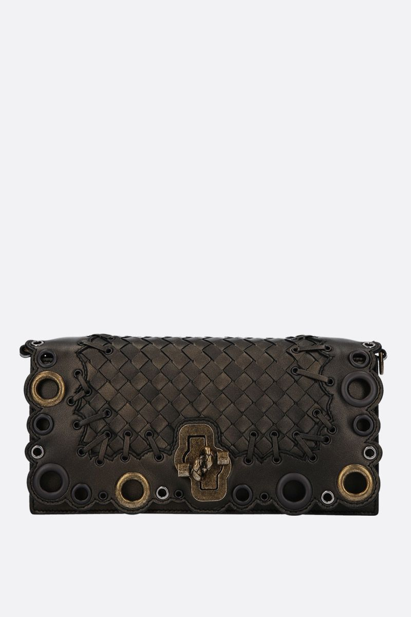 BOTTEGA VENETA: borsa Knot Clutch in Intrecciato Lace Color Brown_1