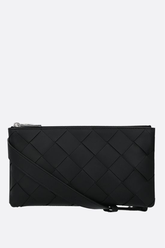 BOTTEGA VENETA: Intrecciato nappa mini messenger bag Color Black_1