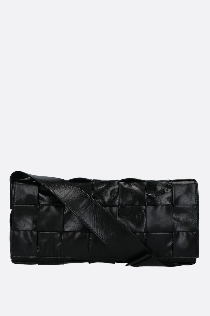 BOTTEGA VENETA: borsa The Stretch Cassette in Intrecciato Paper Calf Colore Nero_1