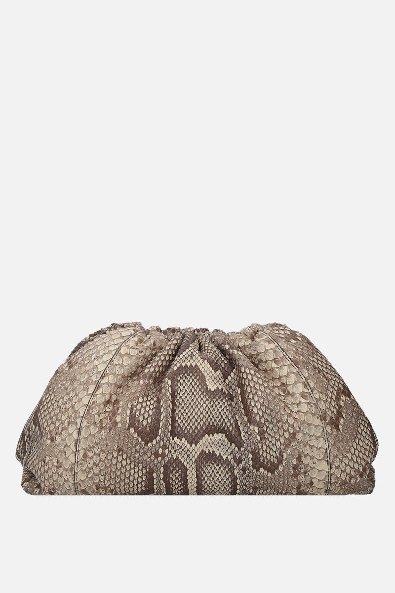 BOTTEGA VENETA: The Pouch clutch in python leather Color Neutral_1