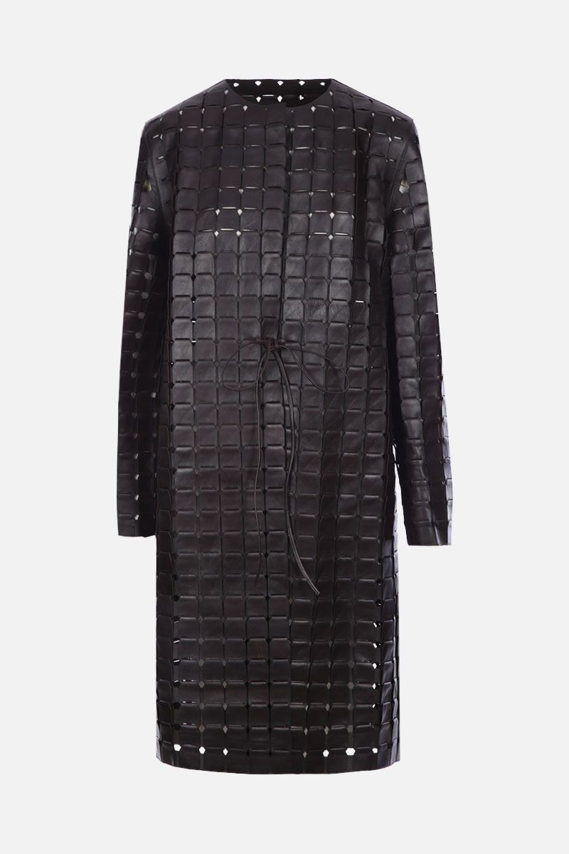 BOTTEGA VENETA: chainmail nappa leather coat Color Brown_1