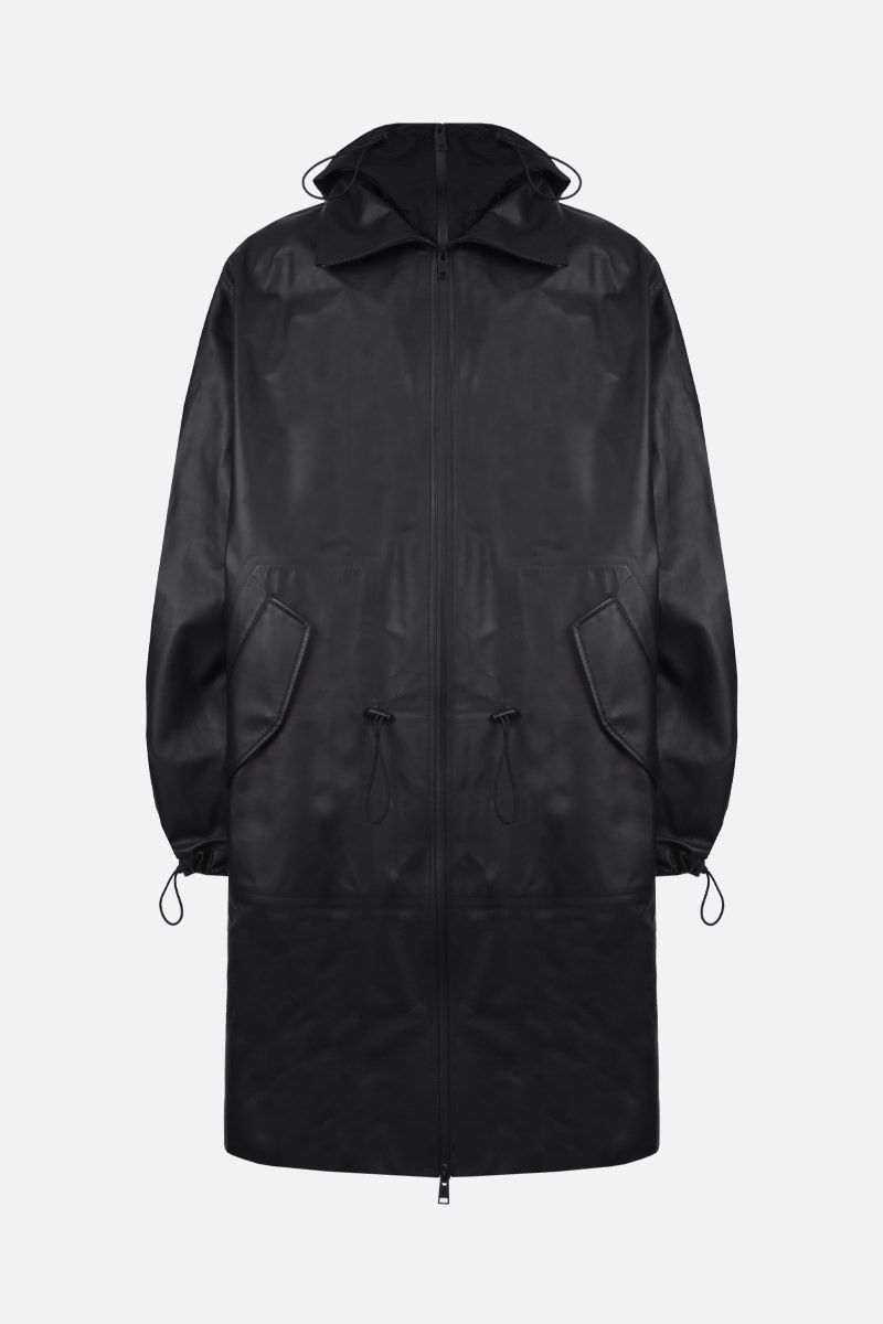 BOTTEGA VENETA: matte leather parka Color Black_1