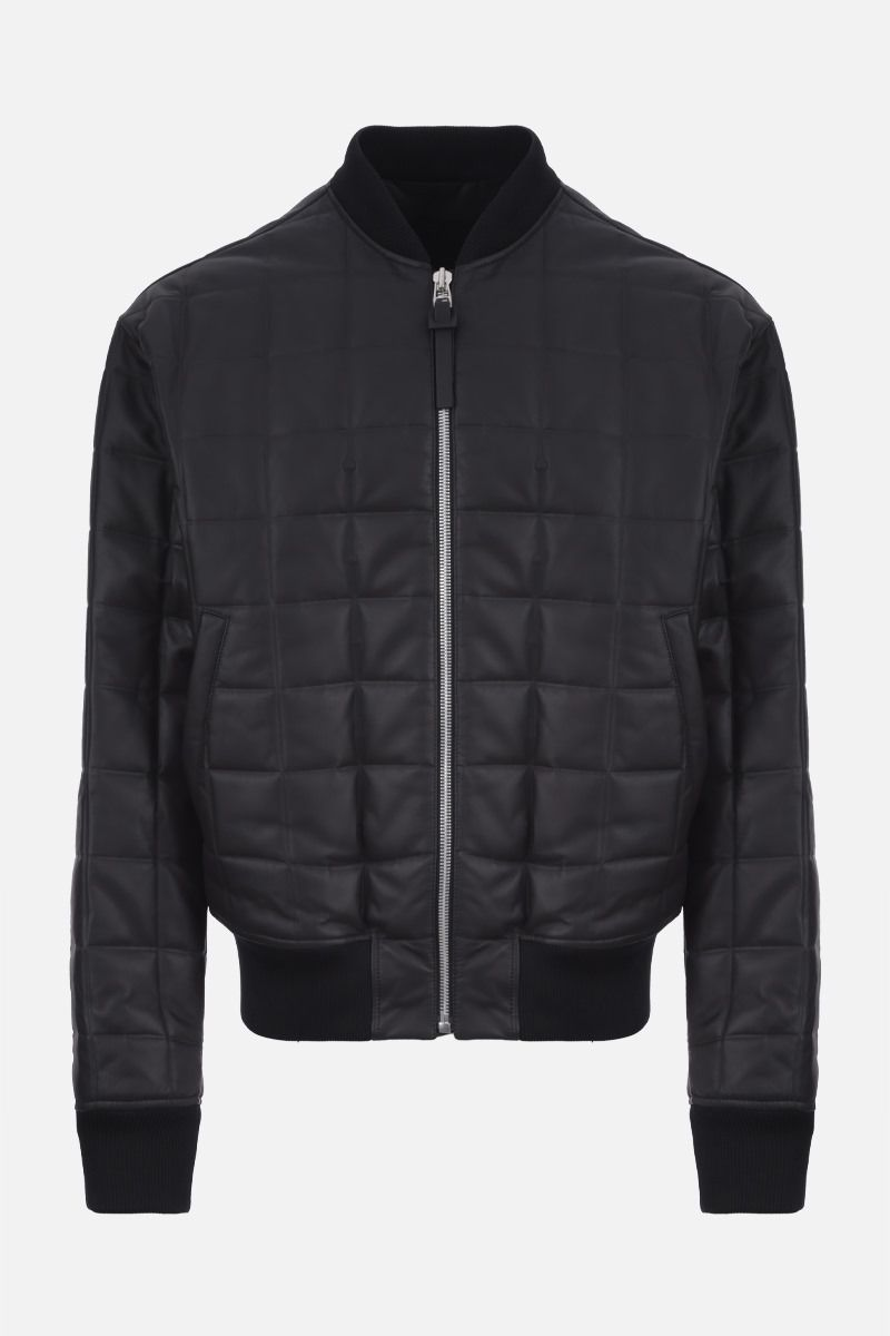 BOTTEGA VENETA: quilted matte leather bomber jacket Color Black_1