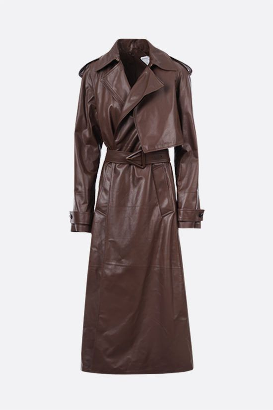 BOTTEGA VENETA: double-breasted shiny leather trench coat Color Brown_1