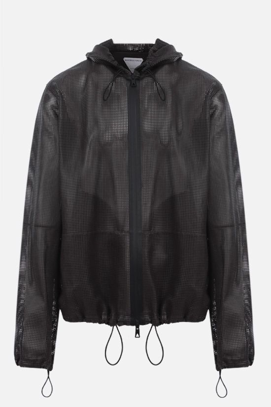 BOTTEGA VENETA: laser-cut leather full-zip jacket Color Brown_1