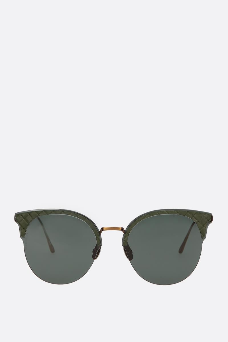 BOTTEGA VENETA: Intrecciato motif metal sunglasses Color Green_1