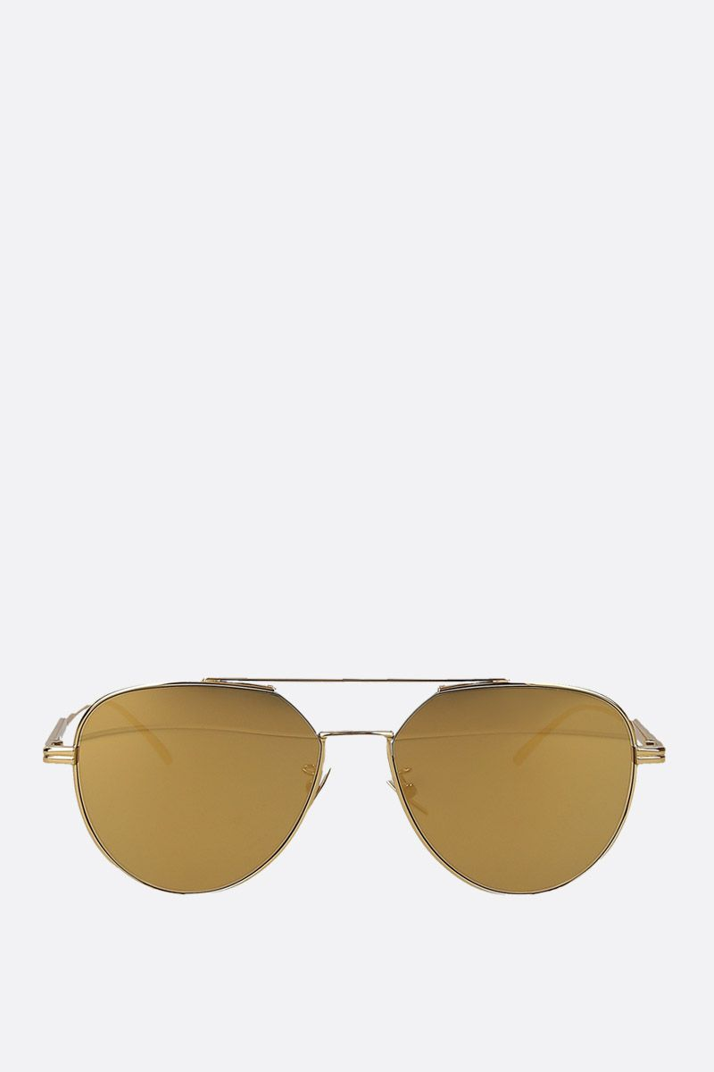 BOTTEGA VENETA: metal aviator sunglasses_1