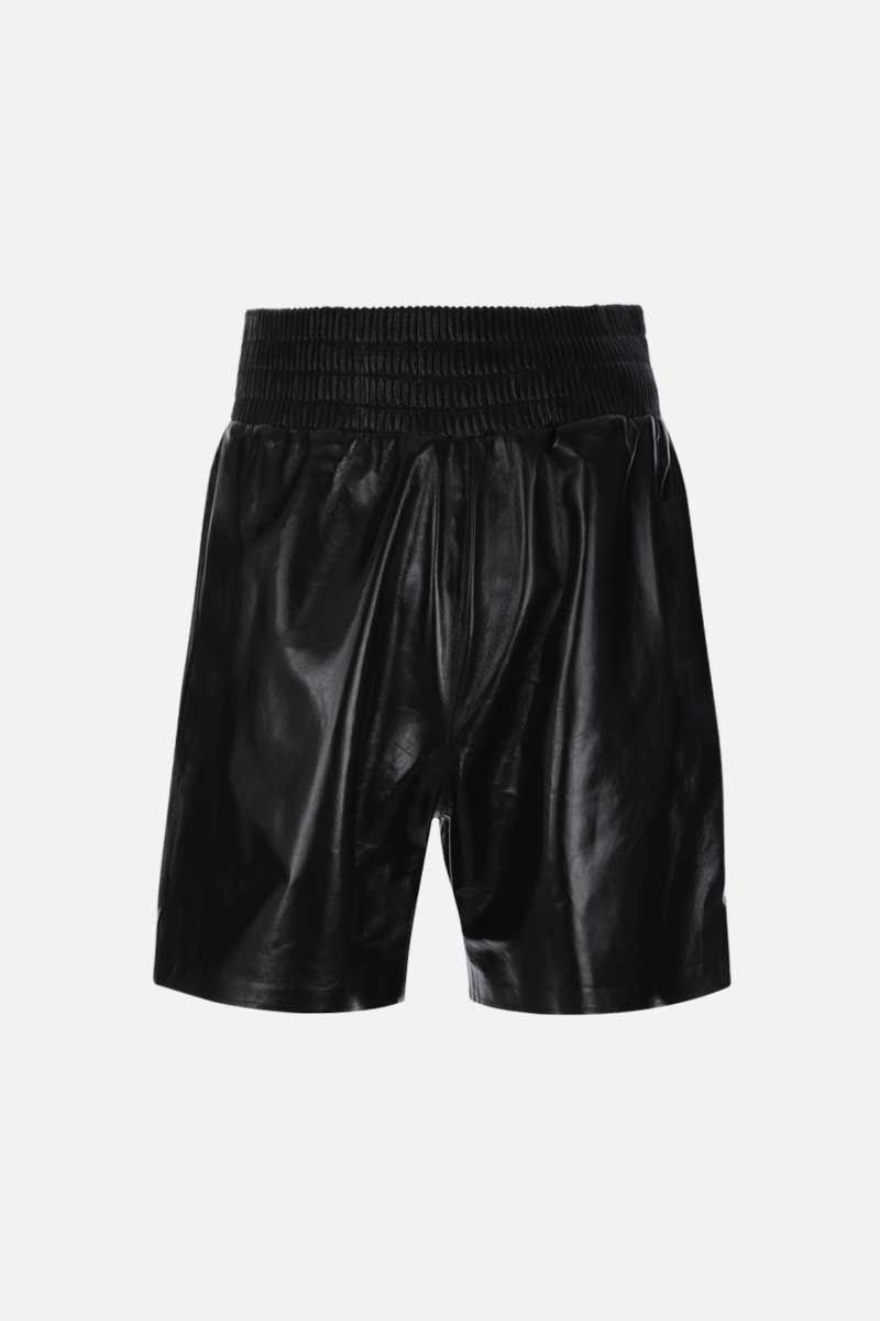 BOTTEGA VENETA: shiny leather shorts Color Black_1