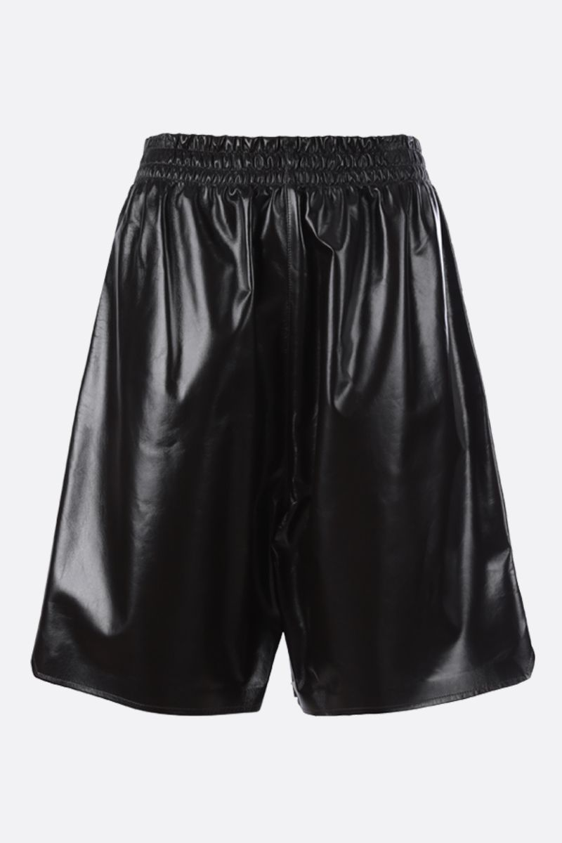 BOTTEGA VENETA: shiny leather shorts Color Brown_1