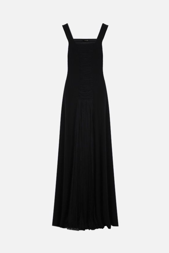 GIANNI VERSACE: pleated panel-detailed crepe long dress Color Black_1