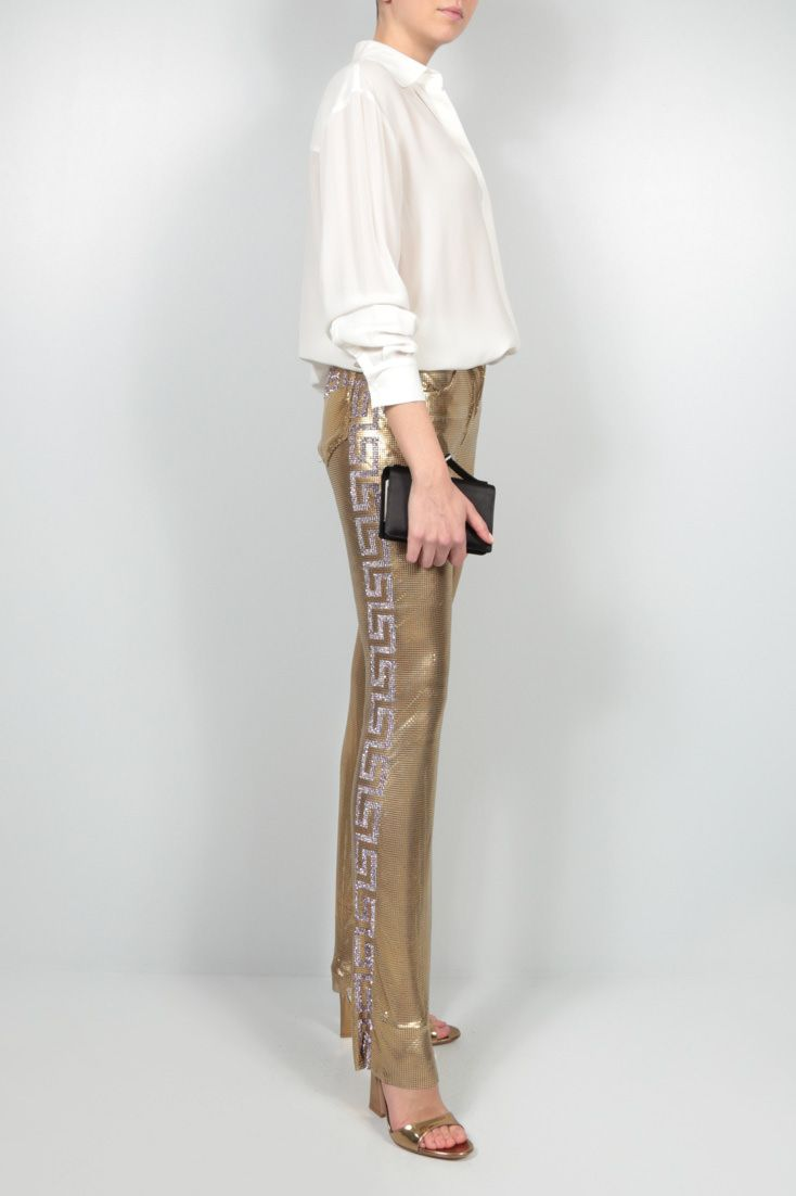 GIANNI VERSACE: skinny-fit Oroton metal mesh pants Color Gold_2