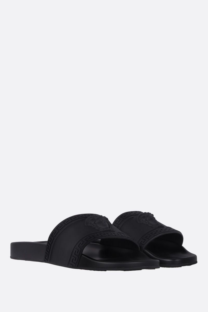 VERSACE: Palazzo rubber slide sandals Color Black_2
