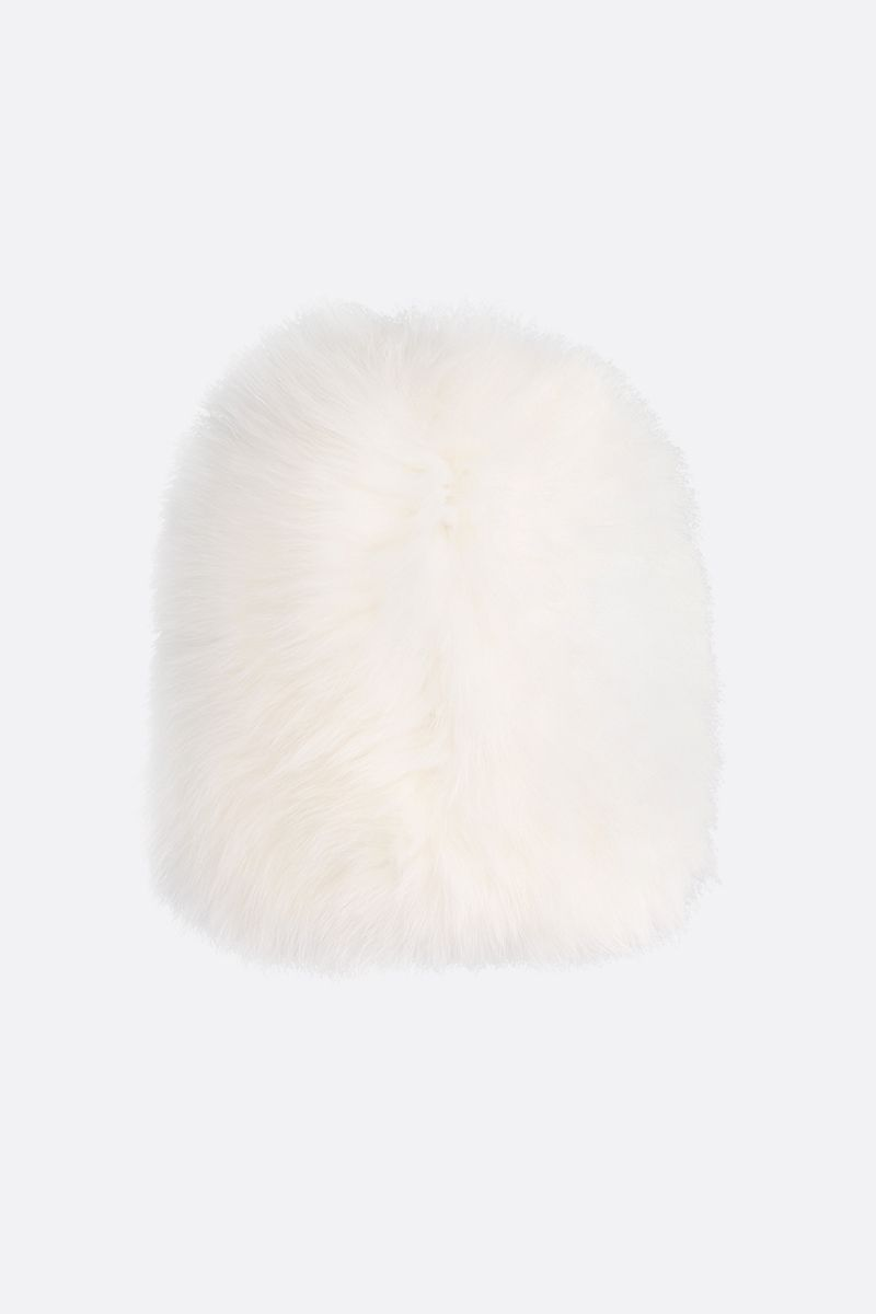 YVES SALOMON: soft fox fur beanie Color White_2