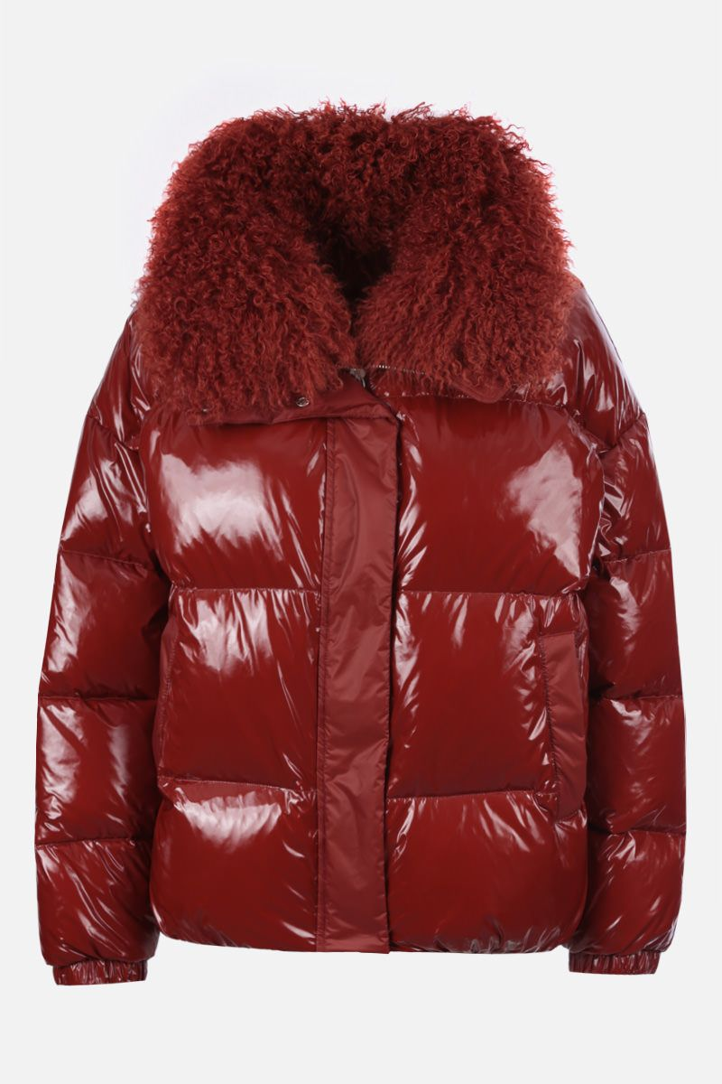 YVES SALOMON: shearling collar-detailed coated nylon down jacket Color Brown_1