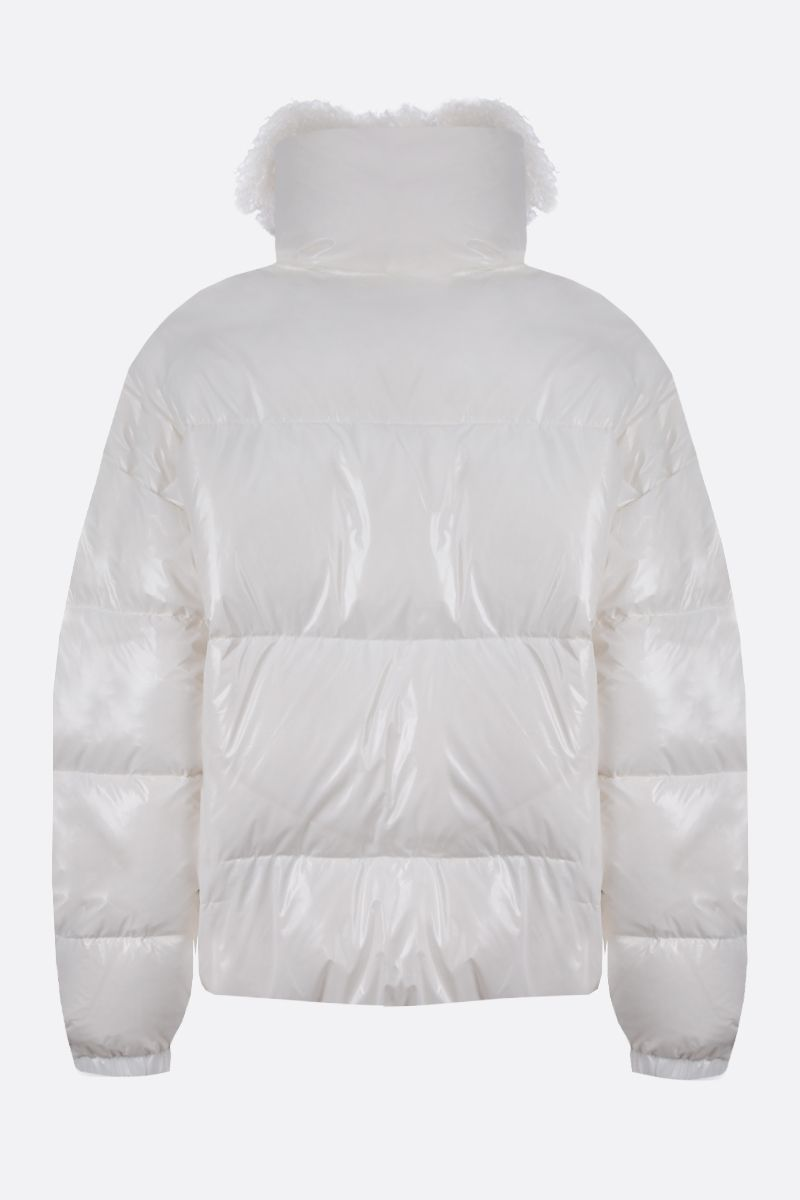YVES SALOMON: shearling collar-detailed coated nylon down jacket Color White_2