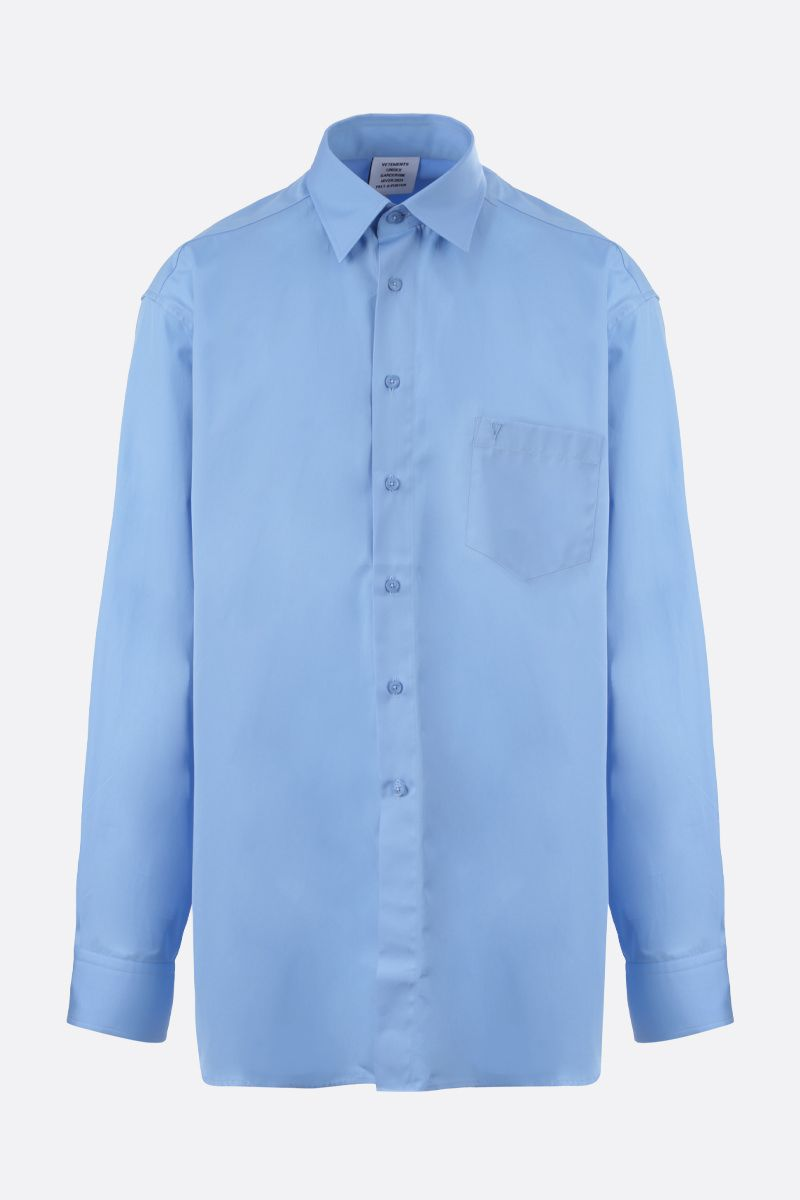 VETEMENTS: camicia oversize in cotone stampa Vetements Colore Blu_1