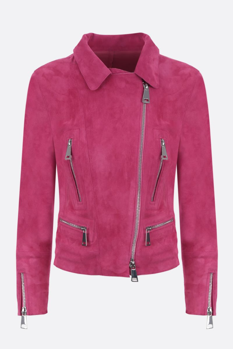 SYLVIE SCHIMMEL: giacca biker Metro in suede stretch Colore Rosa_1