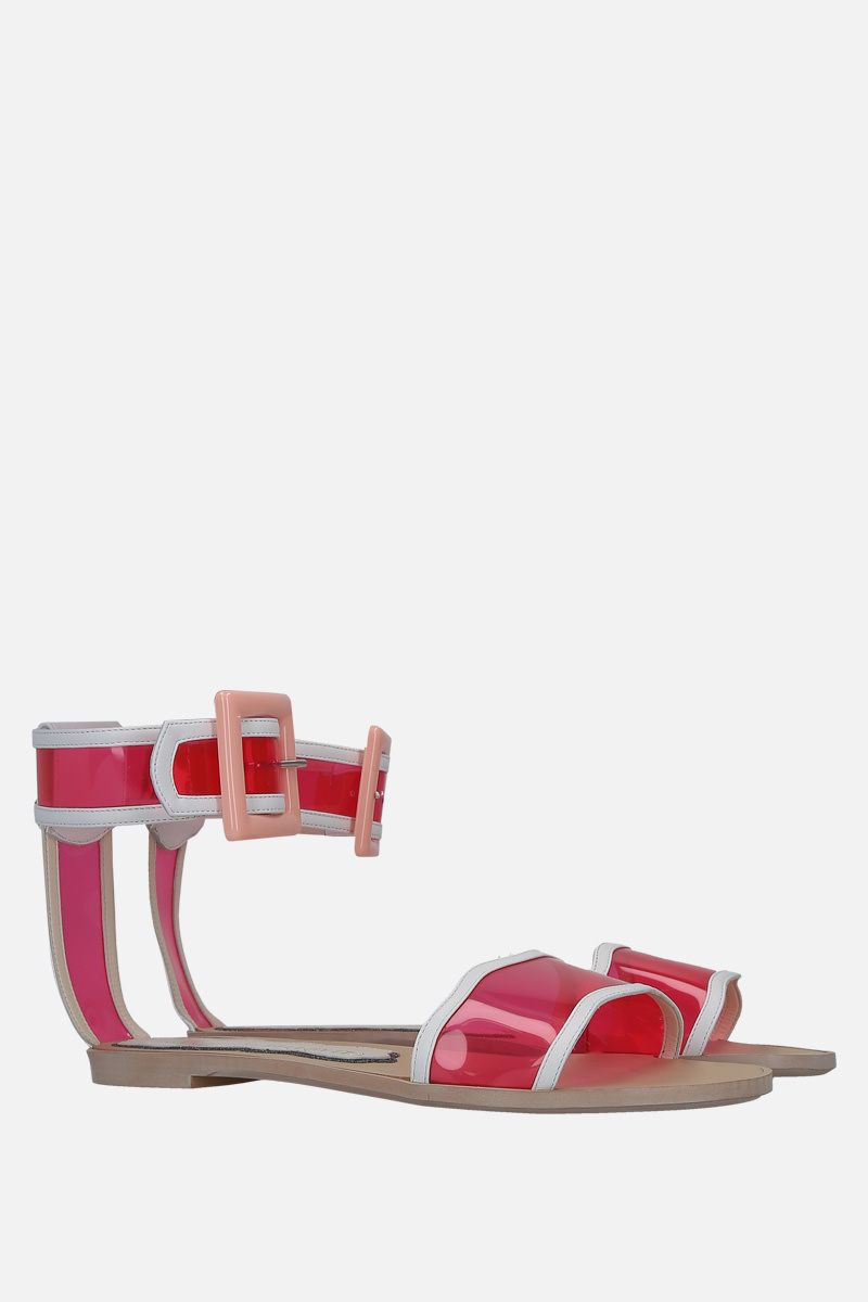 FRANCESCA BELLAVITA: Melody faux leather and PVC flat sandals Color Pink_2