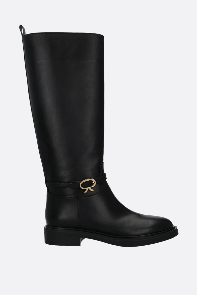 GIANVITO ROSSI: Ribbon smooth leather boots Color Black_1