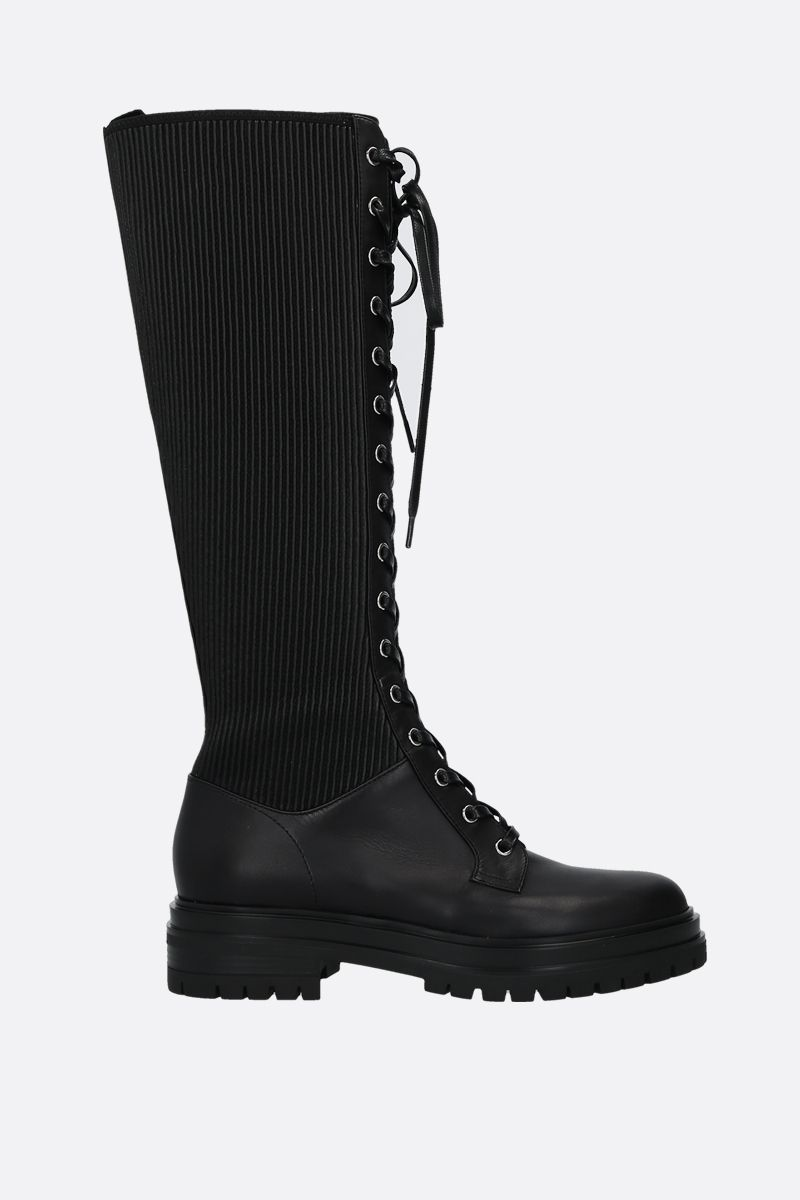 GIANVITO ROSSI: Martis leather lace-up boots Color Black_1