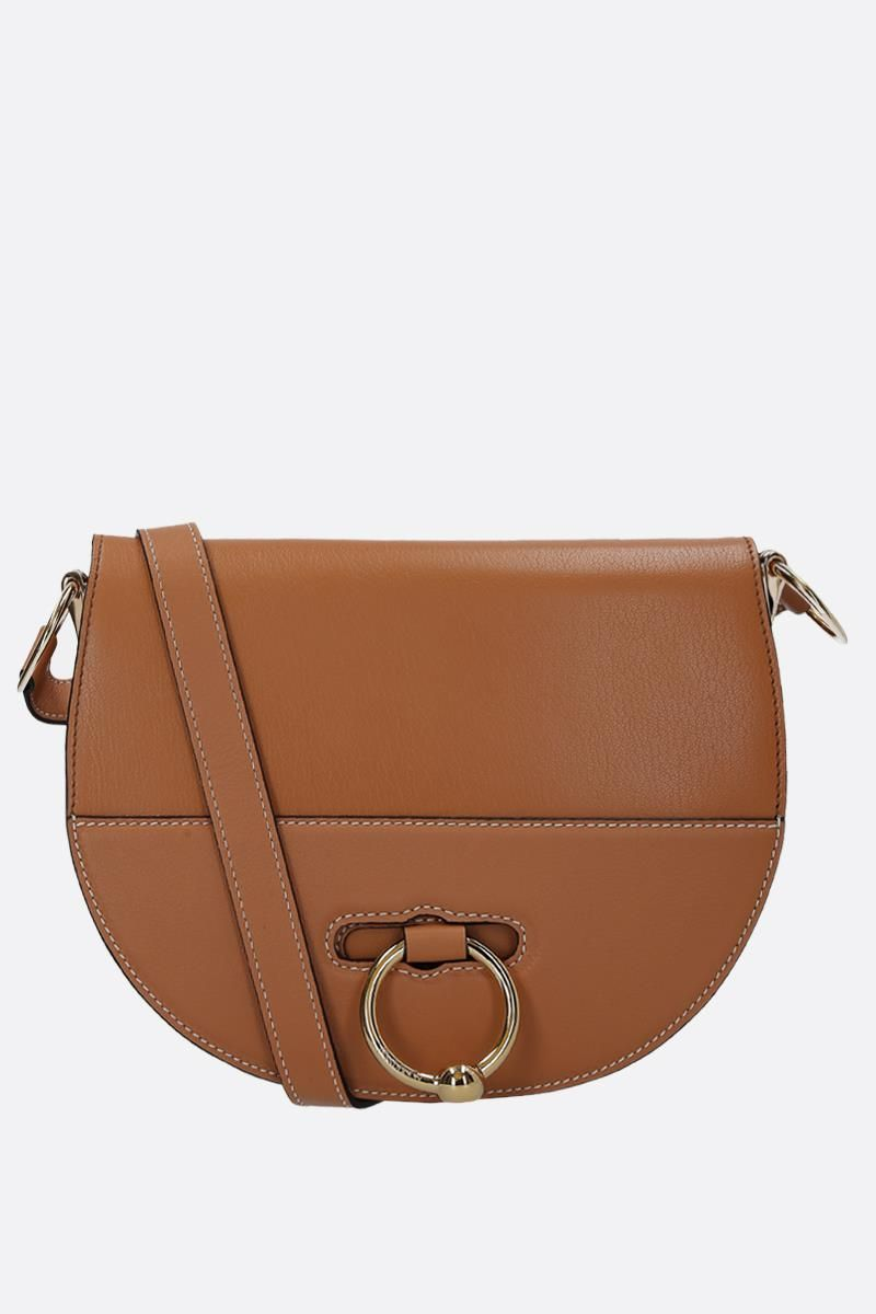 JW ANDERSON: Latch leather crossbody bag Color Brown_1