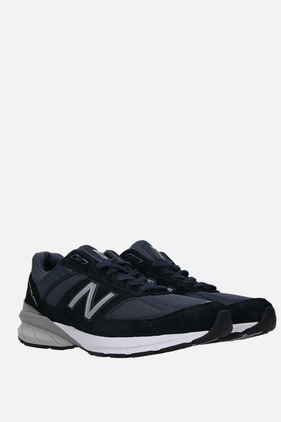 NEW BALANCE: 990v5 sneakers in a mix of materials Color Blue_2
