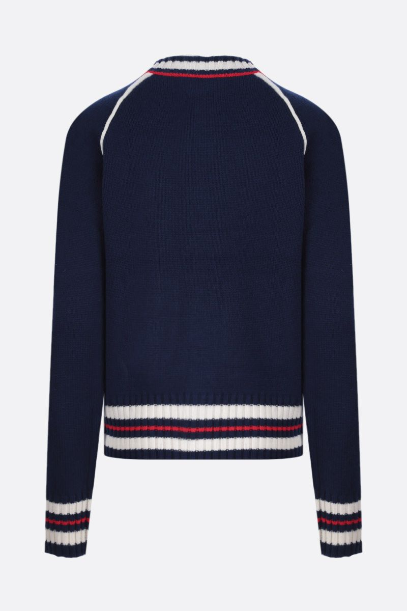 WALES BONNER: cardigan Artist in lana e cashmere a righe Colore Blue_2
