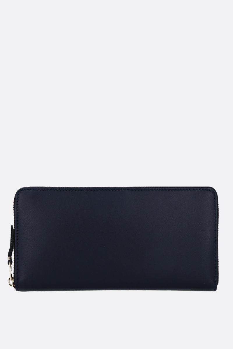 COMME des GARCONS WALLET: smooth leather zip-around wallet Color Blue_1