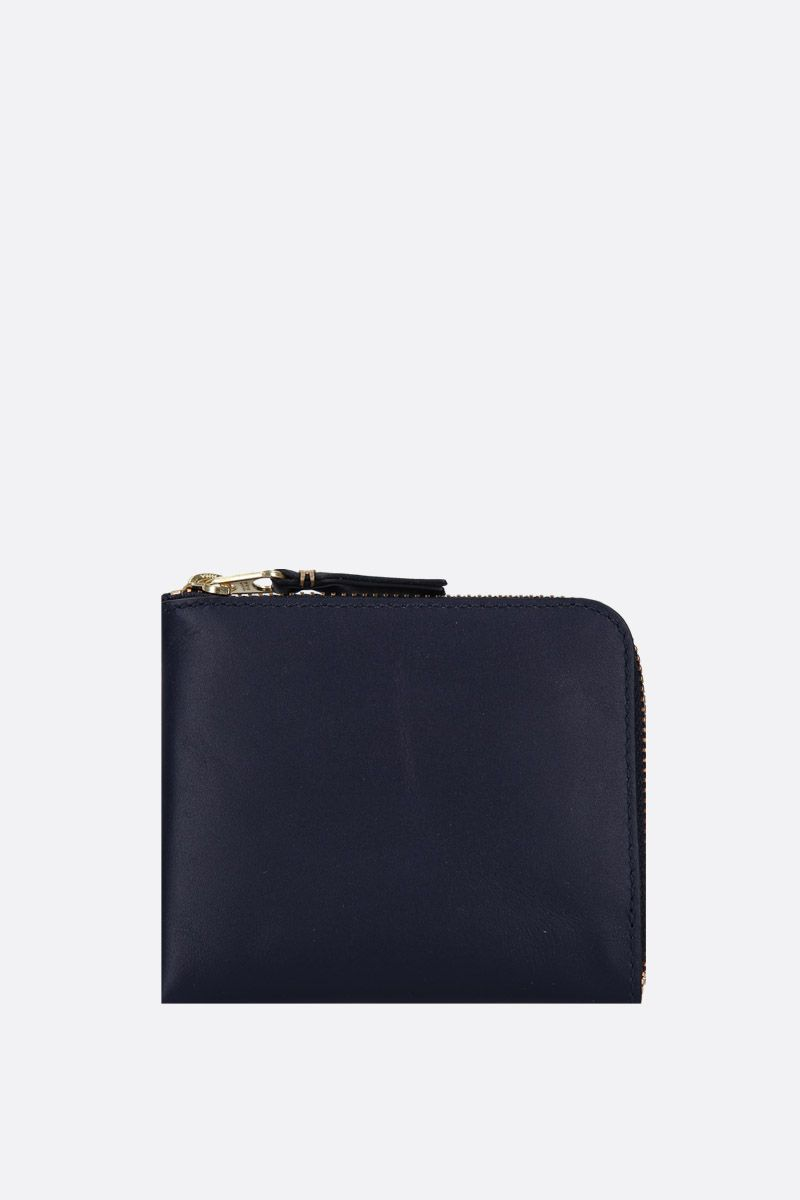 COMME des GARCONS WALLET: smooth leather half-zip wallet Color Blue_1