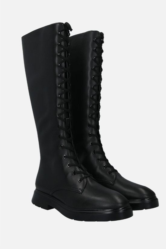STUART WEITZMAN: McKenzee smooth leather combat boots Color Black_2