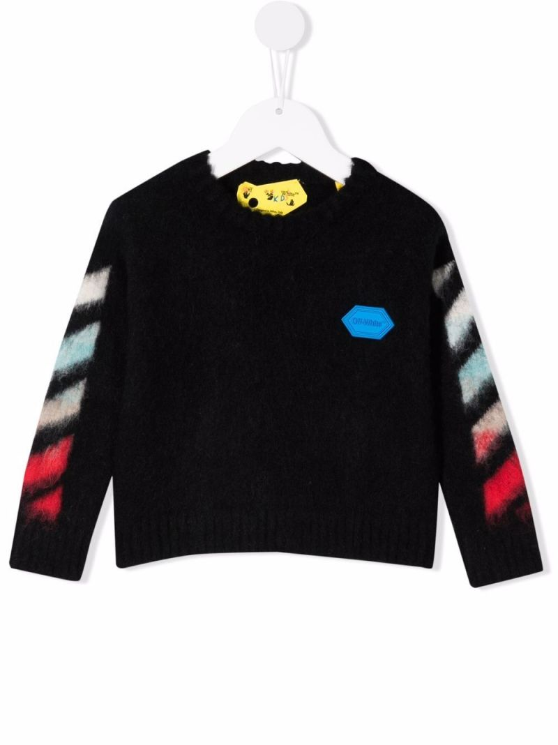 OFF WHITE KIDS: logo patch wool blend pullover Color Black_1
