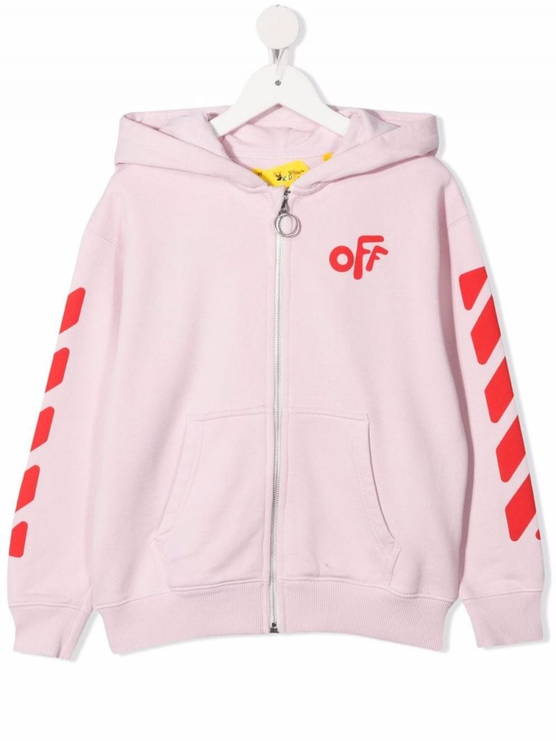 OFF WHITE KIDS: OFF print full-zip cotton hoodie Color Pink_1