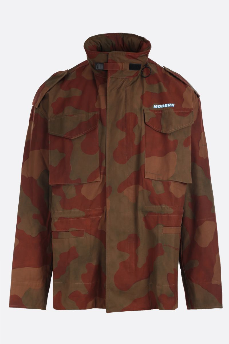 OFF WHITE: giacca sahariana oversize in cotone camouflage Colore Verde_1