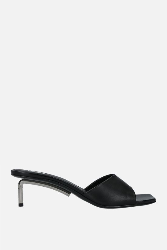 OFF WHITE: Allen smooth leather mule sandals Color Black_1