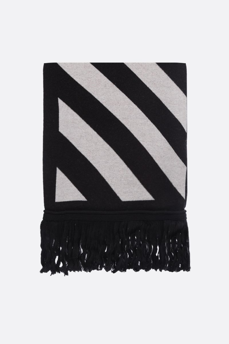 OFF WHITE: Off-White™ cotton wool blend scarf Color Black_1