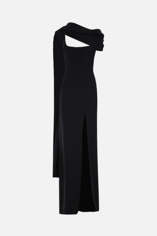 L' WREN SCOTT: scarf-detailed cady evening dress Color Black_1