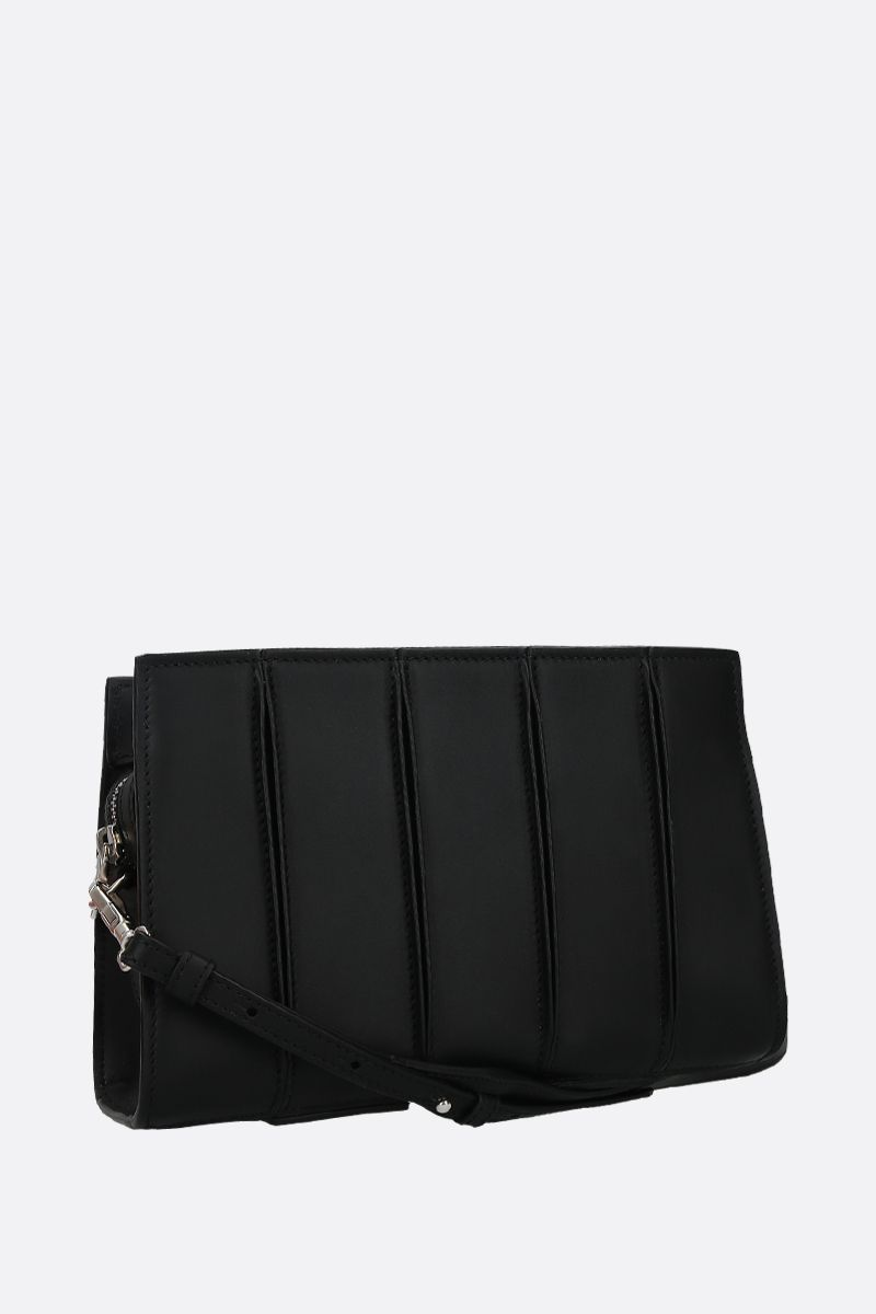 MAX MARA: Whitney smooth leather strap clutch Color Black_2