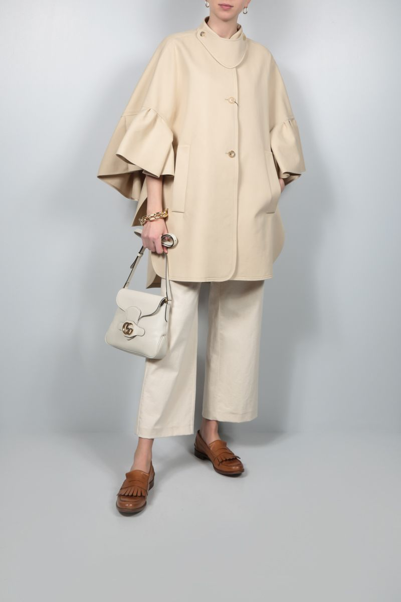MAX MARA: Derris single-breasted cotton cape Color Neutral_2